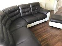 Leather corner settee with leather foot rest