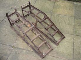 PAIR OF WROUGHT IRON STURDY CAR RAMPS 11 INCHES TALL X 32 INCHES LONG