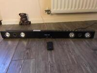 JVC soundbar with wireless subwoofer remote. Has dab rafio built in Bluetooth etc. High spec