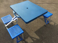 Lightweight Folding Picnic Table & Chairs Set