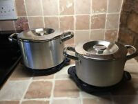 Set of two Aga stainless steel casserole pans