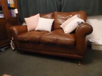Laura Ashley Harrogate Leather sofa 2 seater, excellent condition 3 seater