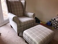 High back arm chair and foot stool in Dove Grey