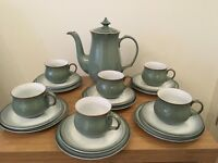 Denby coffee pot ,cups , saucers & side plates