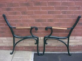 Refurbished pair of cast iron bench / chair ends