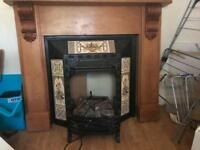 Solid cast iron fireplace and wooden surround