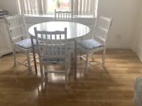 White gloss round table and 4 shabby chic style solid chairs