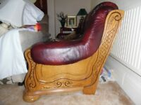 3 Seater / 3 drawer Leather Sofa with carved wooden frame