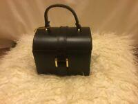 Black leather jewellery box