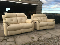 2+2 cream leather recliners DELIVERY AVAILABLE