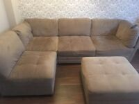 Awesome suede corner sofa and poof