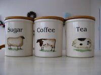 T G Green Cloverleaf Farm Animals Coffee, Tea & Sugar Storage Jars