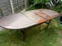 Hardwood extending garden table