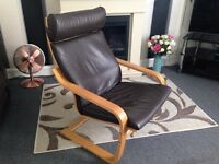 Ikea Poang Leather Armchair