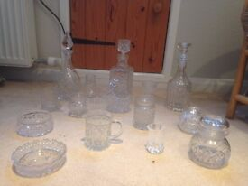 16 items of cut glass