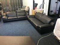 HARVEYS THORNHILL BLACK LEATHER 3 plus 3 SEATER SOFAS ADJUSTABLE RATCHET ARM HEAD RESTS THREE AND