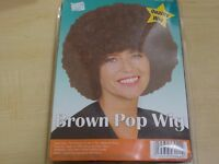 BROWN POP / AFRO WIG - NEW IN PACKAGING - ADULT SIZE