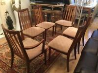 Set of six G Plan mid century dining chairs