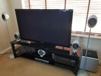 Pioneer 50in plasma TV ,amp,subwoofer, surround sound speakers, blueray player, tv stand