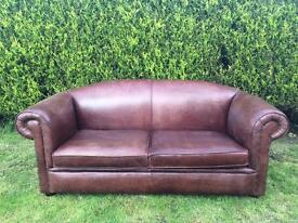 Beautiful Saddle Brown Aniline Leather 3 seater Sofa