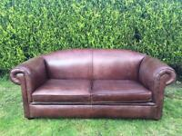 Beautiful Saddle Brown Aniline Leather 3 seater Sofa