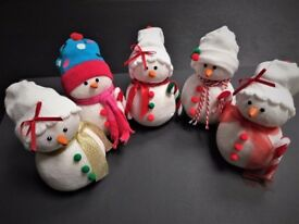 Handmade Christmas Snowmen Ornaments - Hand Crafted - Table Decoration