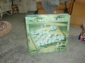 glass chess set new in box