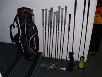 Set of Donnay Golf Clubs, metal woods, putter and new bag