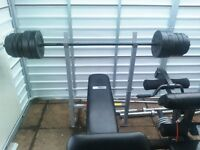 Pro Fitness Bench with 50kg weights