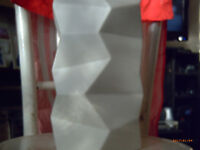 LARGE SCULPTURAL FACETED WHITE VASE