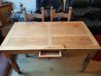 Solid Oak Farmhouse Kitchen Table and 6 Chairs