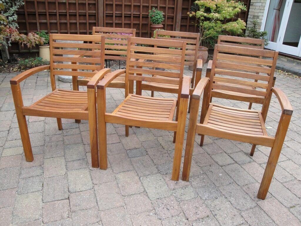 John Lewis Hardwood stacking garden chairs.   in Cambridge ...