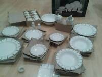 Royalty Dinner Set, 54 Piece, Boxed, NEW, Gold Trim, White,