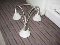 Beautiful Chrome Ceiling Light with Ceiling Rose and Opaque Glass Lampshades for £10.00