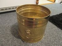 Large Brass Plant Pot with Lions head with ring both sides.