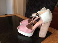 Ladies H&M three tone block heel shoes size 8