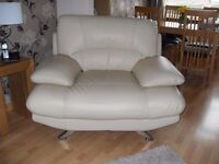 Cream Leather 3 Seater & Large Chair.