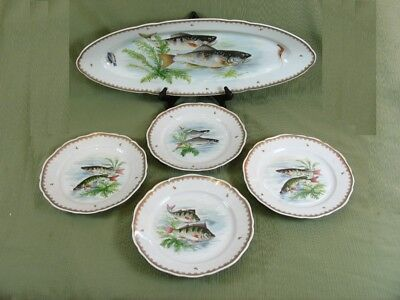 Vintage Hand Painted France Fish Designs Set 4 Dinner Plates & 24
