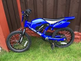 """Boys 16"""" bike moter bike type like new can deliver for a small charge"""
