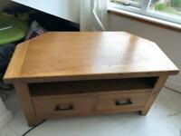 Oak Wood Effect 2-Drawer Corner TV Unit