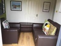 Beautiful 2 seater sofa, chair and poof set