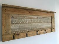 Reclaimed wood coat hat hook shelf