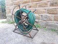 Large Vintage Antique Remploy Wrought Iron Garden Hose Reel Holder with Pipe Green Brown Rustic