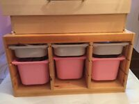 Ikea storage units with drawers in pink and white