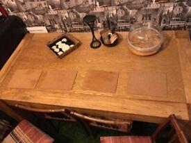 WOOD table 4 hairs...................................smoke free home