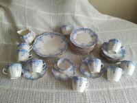 VINTAGE BLUE PARTIAL TEA SET ~ FOLEY CHINA, ENGLAND
