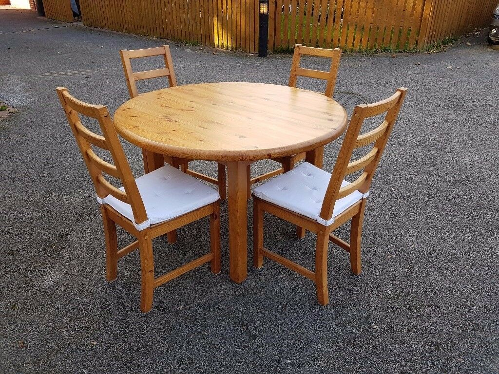 Solid Pine Round Dining Table & 4 Ikea High Ladder Back Chairs FREE DELIVERY 080