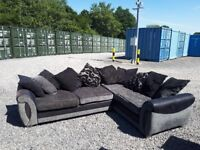 DFS Corner Sofa in Grey / Black Draylon in very good condition can deliver 10 mile radius