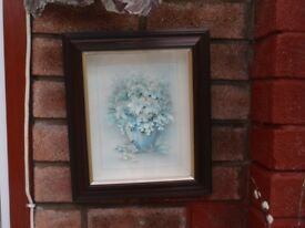 Flower Picture in Dark Wood Frame