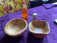 wooden bowls and tray